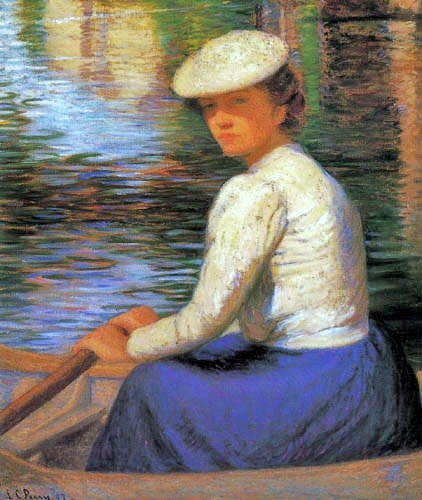 Lady Rowing a Boat by Lilla Cabot Perry (American 1848 - 1933)