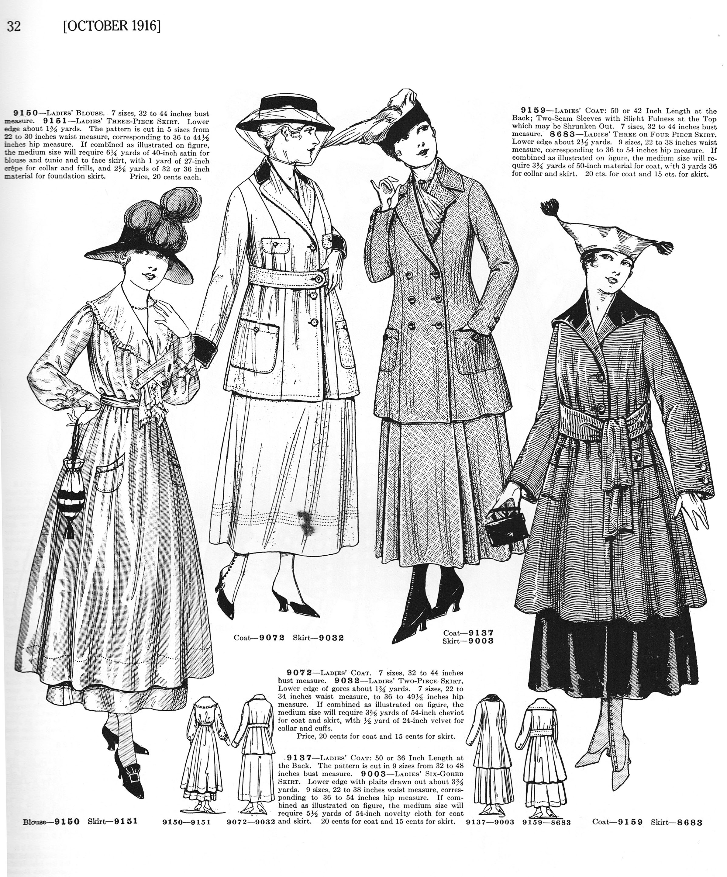 October 1916 Russell's Standard Fashions, publ. by Dover Press