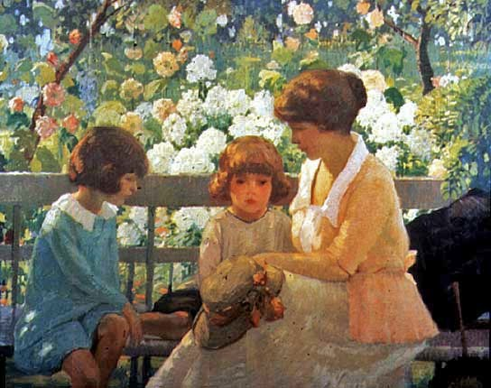 A slightly later painting, The Garden Bench, painted in 1920 by American Rae Sloan Bredin, shows a similar jacket in a summer setting.