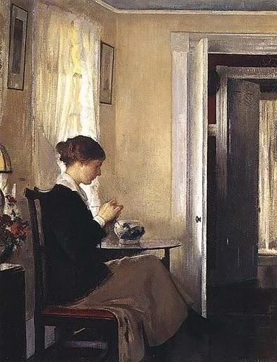 Amer Edmund Tarbell (American painter, 1862-1938)  Josephine Knitting