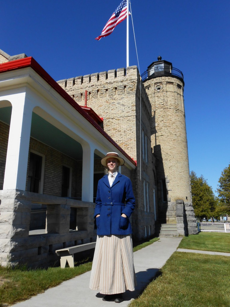 Senior Lighthouse Interpreter Helen wearing the jacket