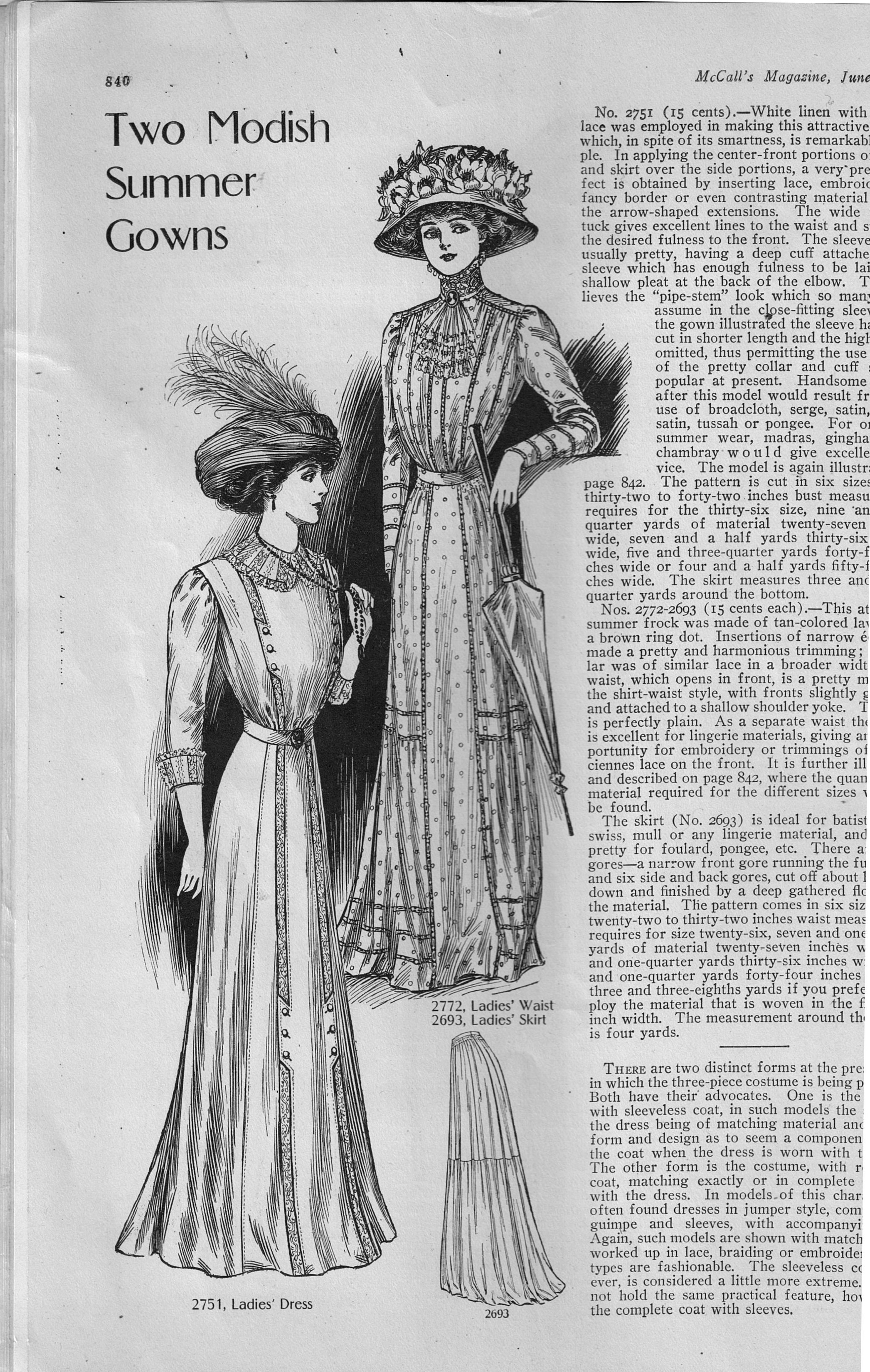 Two Modish Summer Gowns