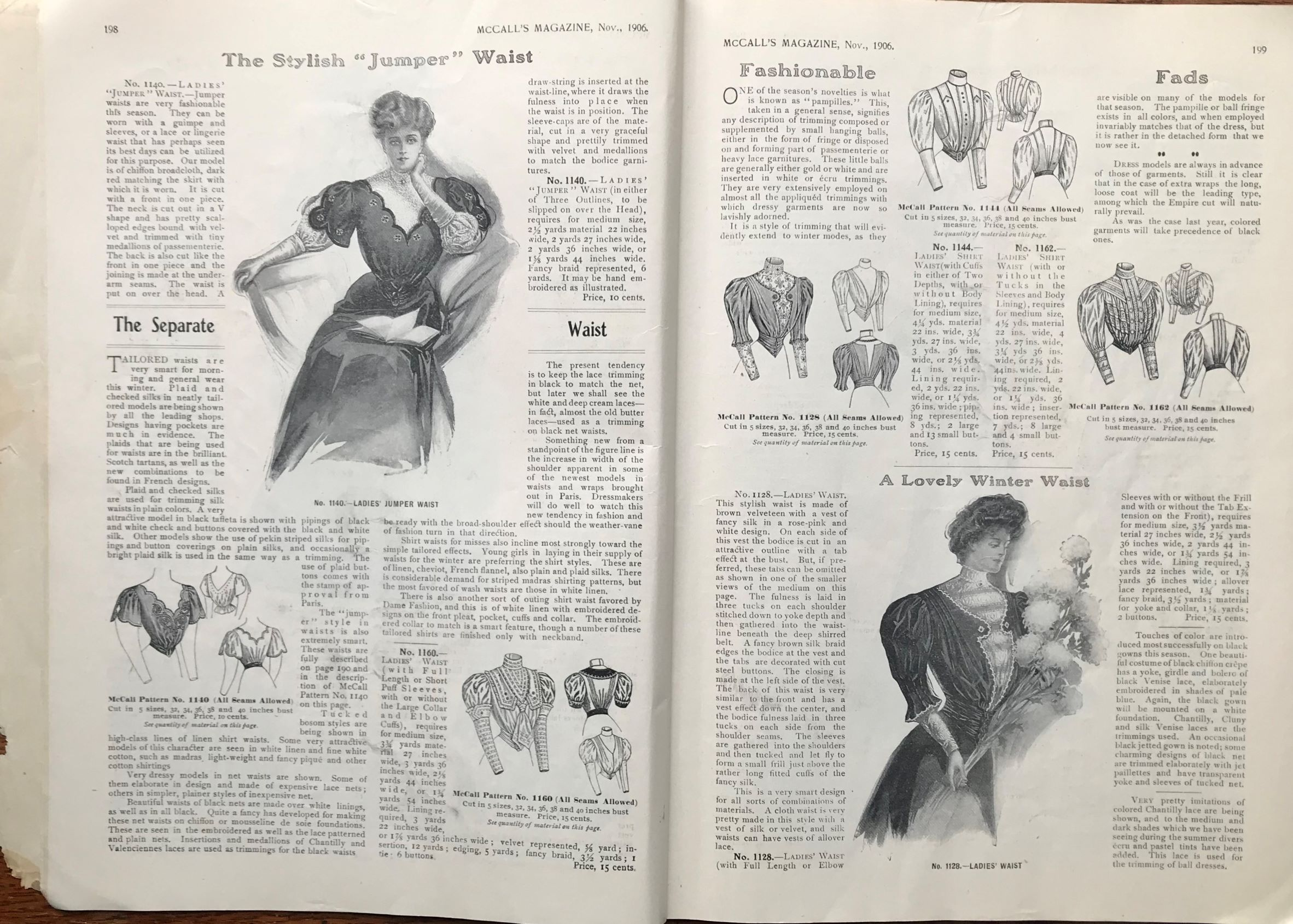 1906 November McCall's; The Stylish Jumper Waist